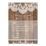 Rustic White Lace and Wood RSVP with Meal Options Personalized Announcement