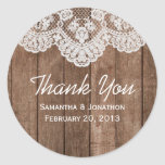 Rustic White Lace and Wood Wedding Thank You Round Sticker