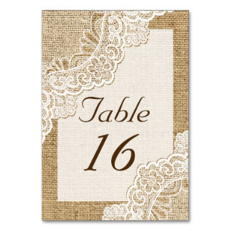 Rustic white lace on burlap wedding table number table cards