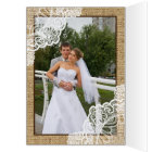 Rustic white lace on burlap wedding Thank You Card