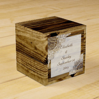 Rustic white lace on wood rustic wedding favour boxes