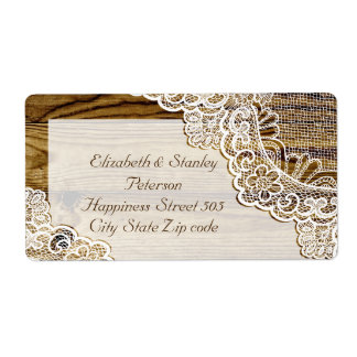 Rustic white lace on wood wedding shipping label