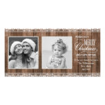 Rustic White Lace & Wood Christmas Personalized Photo Card