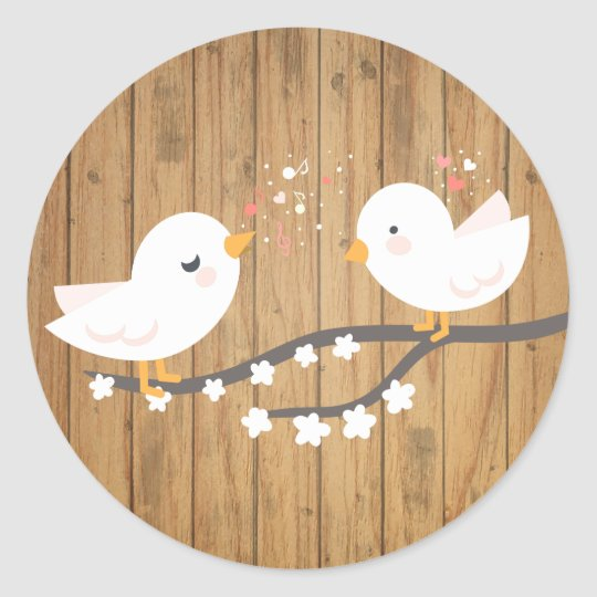 Rustic White Lovebirds Brown Wood Wedding Classic Round