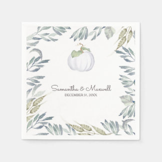 RUSTIC White Pumpkin and Greenery Paper Serviettes