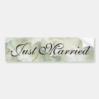 Rustic White Rose Just Married Sticker Bumper Sticker