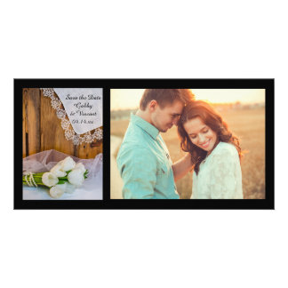 Rustic White Tulips Barn Wedding Save the Date Custom Photo Card