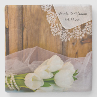 Rustic White Tulips Country Barn Wedding Stone Coaster