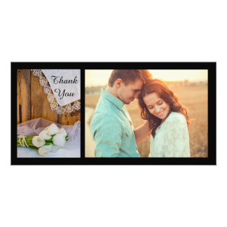 Rustic White Tulips Country Barn Wedding Thank You Customised Photo Card
