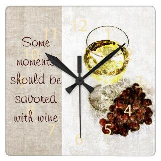 rustic white wine glass with grape clock