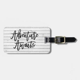 Rustic White Wood Look | Adventure Awaits Luggage Tag
