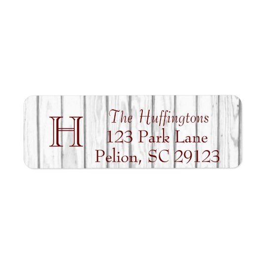 Rustic White Wood Monogram Full address