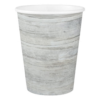 Rustic White Wood Shabby Country Barn Party Paper Cup