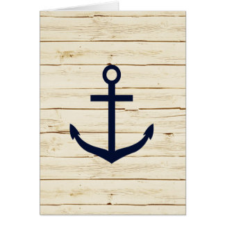 Rustic White Wood with Anchor Greeting Card