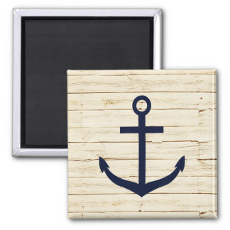 Rustic White Wood with Anchor Magnet