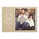 Rustic White Wreath Holiday Photo Card Custom Invite