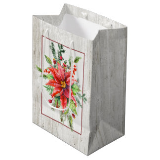 Rustic Whitewashed Wood and Holiday Floral Medium Gift Bag