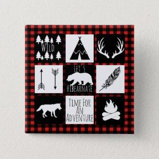 Rustic Wilderness & Animals Buffalo Check Plaid 15 Cm Square Badge