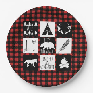 Rustic Wilderness & Animals Buffalo Check Plaid 9 Inch Paper Plate