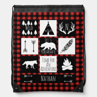 Rustic Wilderness & Animals Buffalo Check Plaid Drawstring Bag
