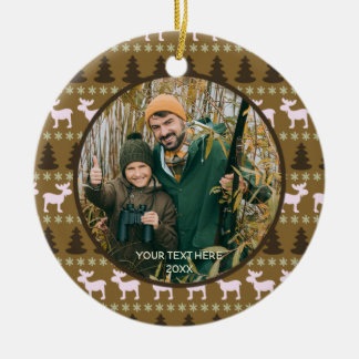 Rustic Wilderness, Brown, Two Photo, Two Sided Christmas Ornament