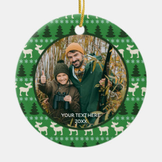 Rustic Wilderness Two Photo, Two Sided Christmas Ornament