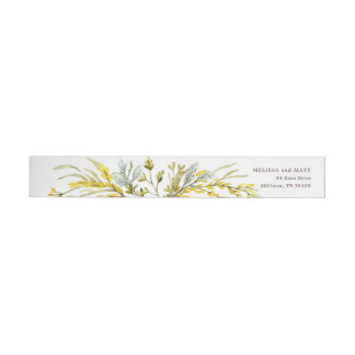 Rustic Wildflower Watercolor Wreath Wedding Wrap Around Label