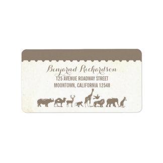 rustic wildlife animal zoo wedding address labels