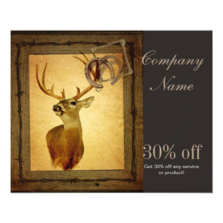 rustic wildlife vintage barn wood hunter deer 11.5 cm x 14 cm flyer