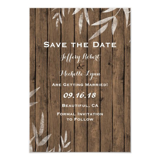 Rustic Willow on Wood Save the Date Wedding