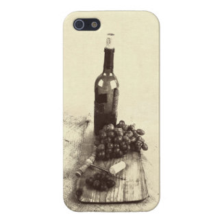 Rustic wine bottle, grapes and corkscrew iPhone 5/5S cases