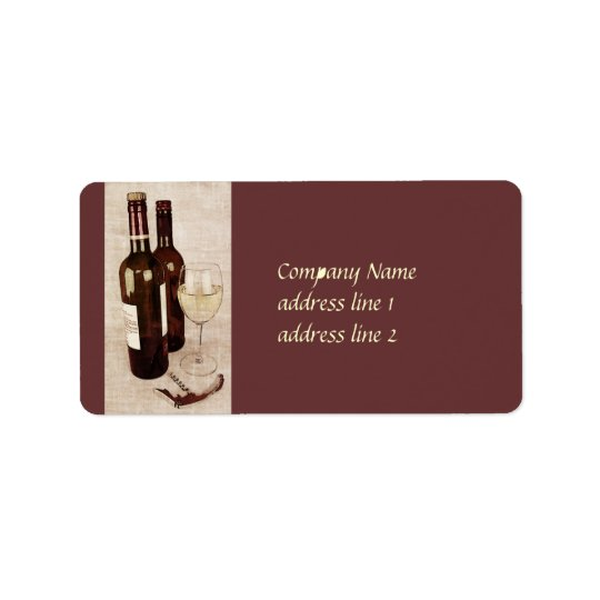 rustic wine bottles and wine glass label address label