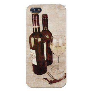 Rustic wine bottles, glass of wine and corkscrew iPhone 5 covers