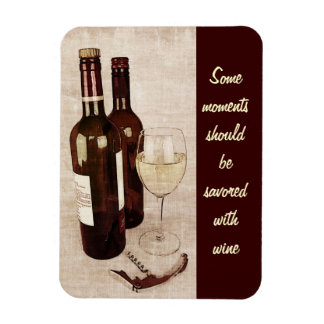 Rustic wine bottles with wineglass rectangular photo magnet