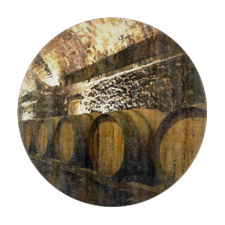 Rustic Wine Cellar Barrels in Brown Cutting Board