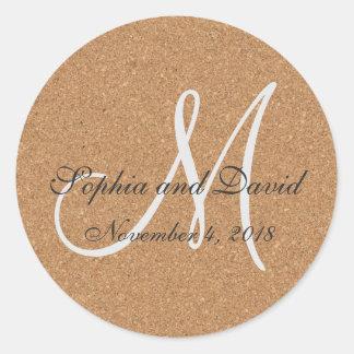 Rustic Wine Cork Wedding Monogram Round Sticker