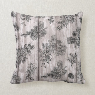 rustic winter acorn holiday throw pillow