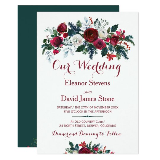 Rustic winter burgundy pine green floral wedding card