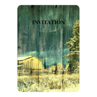 Rustic winter evergreen old barnwood cottage cabin card