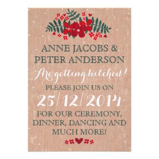 Rustic Winter Floral Wedding Invitation