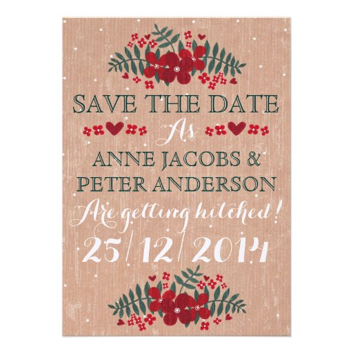 Rustic Winter Floral Wedding 'Save The Date' Card