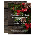 Rustic Winter Holiday Housewarming Party Card