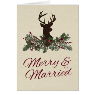 Rustic Winter Holiday Pine Wedding Thank You Card