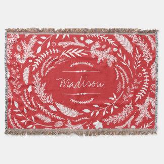 Rustic Winter Monogram Throw Blanket
