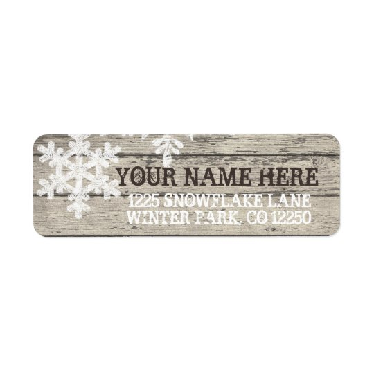 Rustic Winter Snowflakes Return Address Label