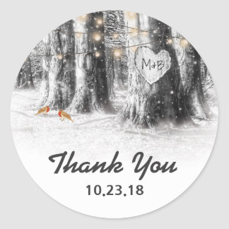 Rustic Winter Tree Lights Thank You Wedding Favor Classic Round Sticker