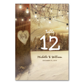 Rustic Winter Tree Lights Wedding Table Numbers