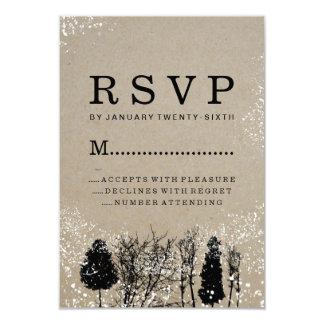 RUSTIC WINTER TREE RSVP CARDS 9 CM X 13 CM INVITATION CARD