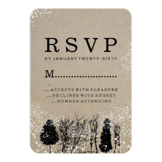 "RUSTIC WINTER TREE RSVP CARDS 3.5"" X 5"" INVITATION CARD"