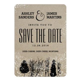 RUSTIC WINTER TREE SAVE THE DATE 13 CM X 18 CM INVITATION CARD